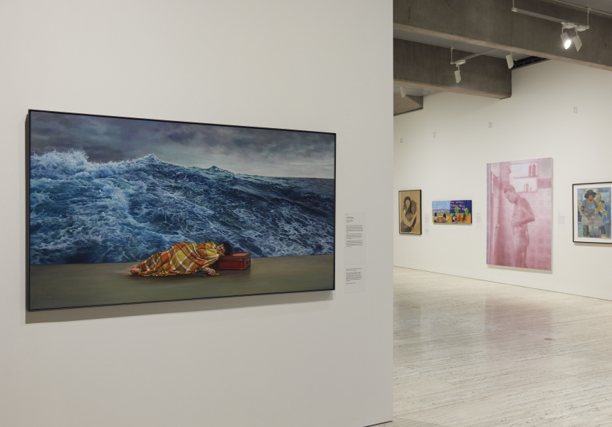 Installation view of the Archibald Prize 2021 featuring ANZ People's Choice award winner Julia Ciccarone's The sea within © the artist.