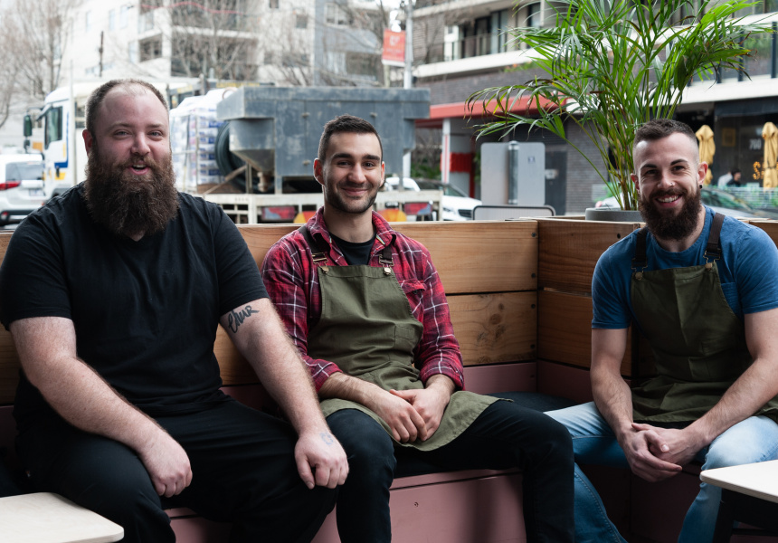 Chef Stewart Anderson, Ross Sampson and manager Jordan Parkinson.