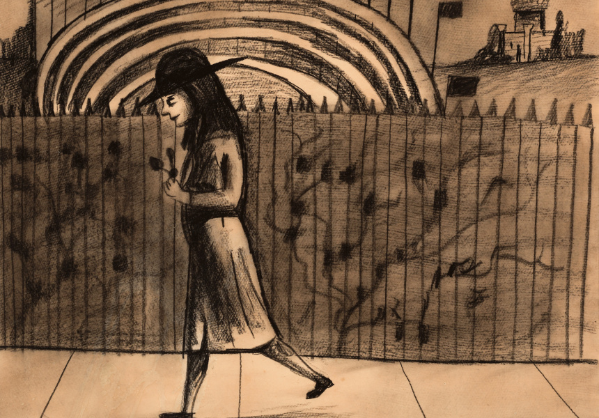 "Charles Blackman, ""Schoolgirl at Kooyong"" c.1953"