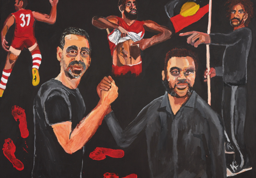Vincent Namatjira,  Stand strong for who you are, acrylic on linen, 152 x 198 cm © the artist Sitter: Adam Goodes - former professional Australian rules footballer