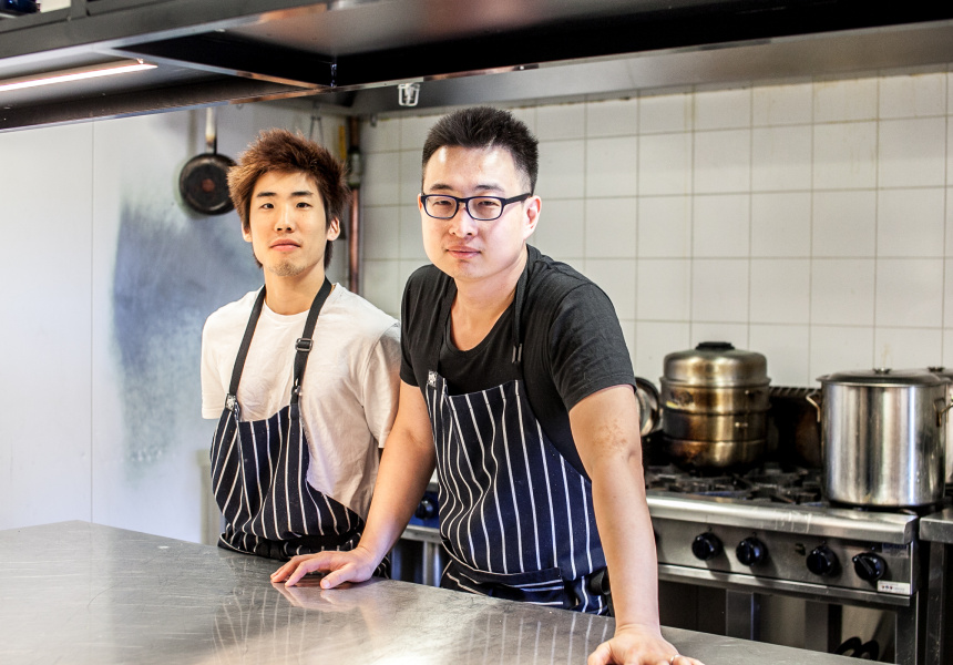 Sous chef Ryo Hirose and Nomstar owner Scott Wang.