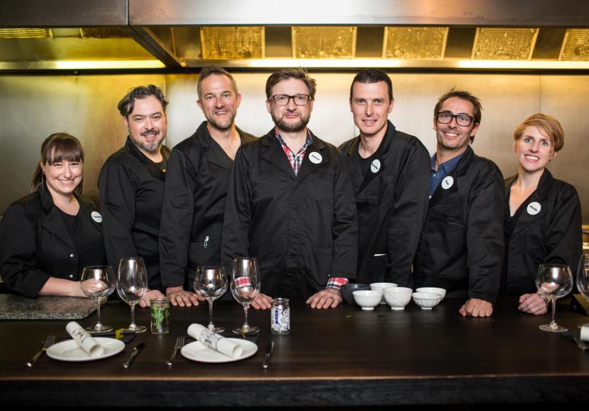 Left to right: Leanne Altmann (Supernormal), Simon Denton (Kappo), Sean Kierce (Ladro), Adam Cash (Union Dining), Quentin Ferguson (Ezard), Sam Christie (Longrain), Ainslie Lubbock (Pei Modern)