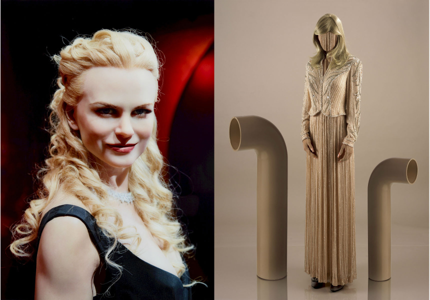 Left: Anne Zahalka; Nicole Kidman 2007, 2011; from the series The Immortals pigment ink photograph, 89.5 x 58.8cm; Art Gallery of New South Wales purchased with funds provided by the Photography Collection Benefactors Program 2011; © Anne Zahalka. Licensed by Viscopy. Right: Yvonne Todd; Pipe study 2008; type C photograph, 156.4 x 119cm; Art Gallery of New South Wales purchased with funds provided by the Photography Collection Benefactors Program 2014; © Yvonne Todd