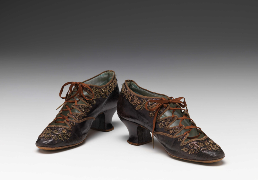Unknown (manufacturer), Shoes 1880–93: leather, metal, glass, silk