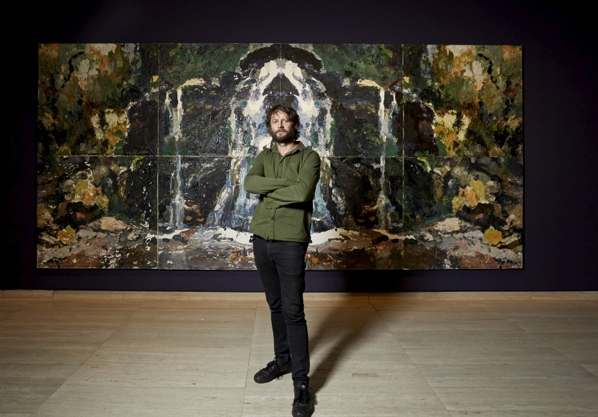 Artist Ben Quilty in the exhibition Quilty at the Art Gallery of New South Wales.