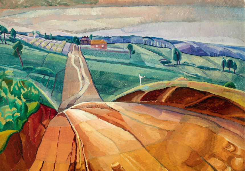 Grace Cossington Smith: Landscape at Pentecost, 1929. Oil on paperboard. 83.7 x 111.8 cm. Art Gallery of South Australia. South Australian Government Grant 1981. © Estate of Grace Cossington Smith