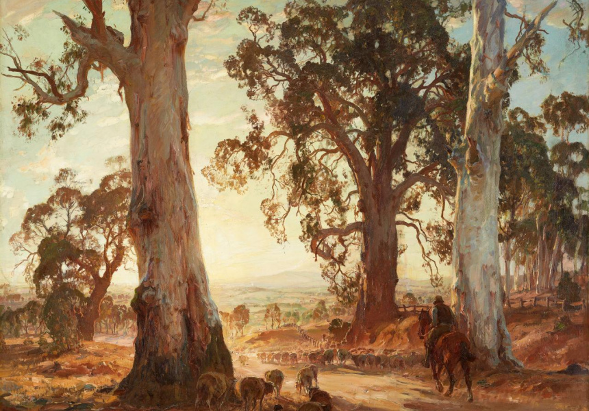 Hans Heysen Droving into the light 1914–1921 oil on canvas 155.0 x 122.0 cm State Art Collection, Art Gallery of Western Australia. Gift of Mr W H Vincent, 1922