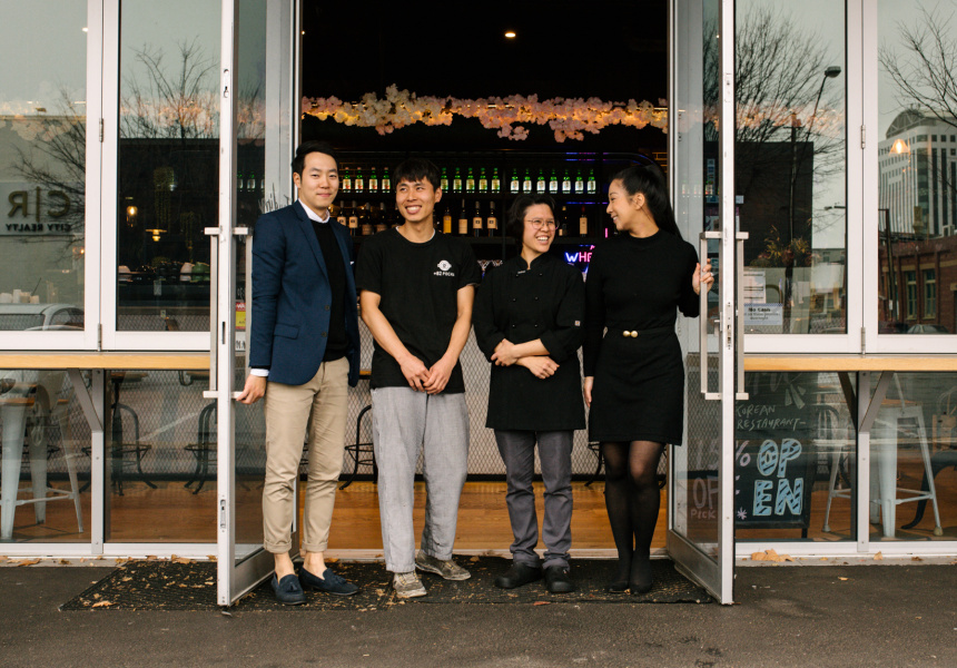 Co-owner Steven Lee, chef Donghwa Park, co-owner and head chef Naphachama Hongsakaola and operations manager Kelsey O'Riley