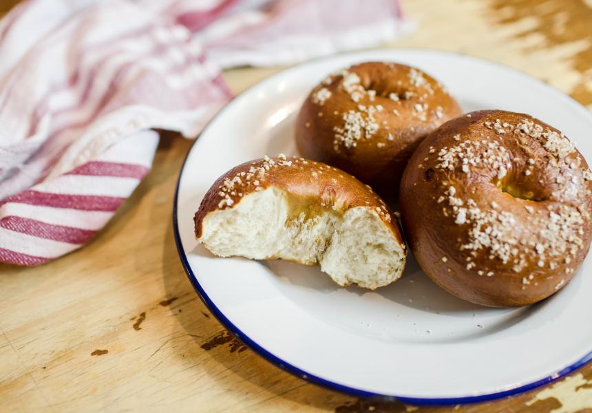 Pretzel bagels, 5 & Dime