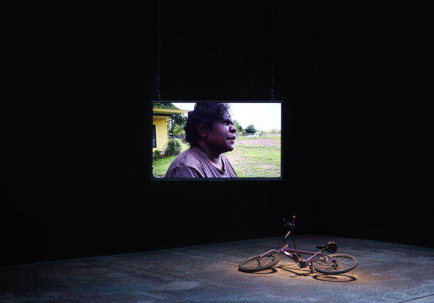 Karrabing Film Collective, 'A Day in the Life' 2020. Installation view 'The National 2021: New Australian Art', Carriageworks.