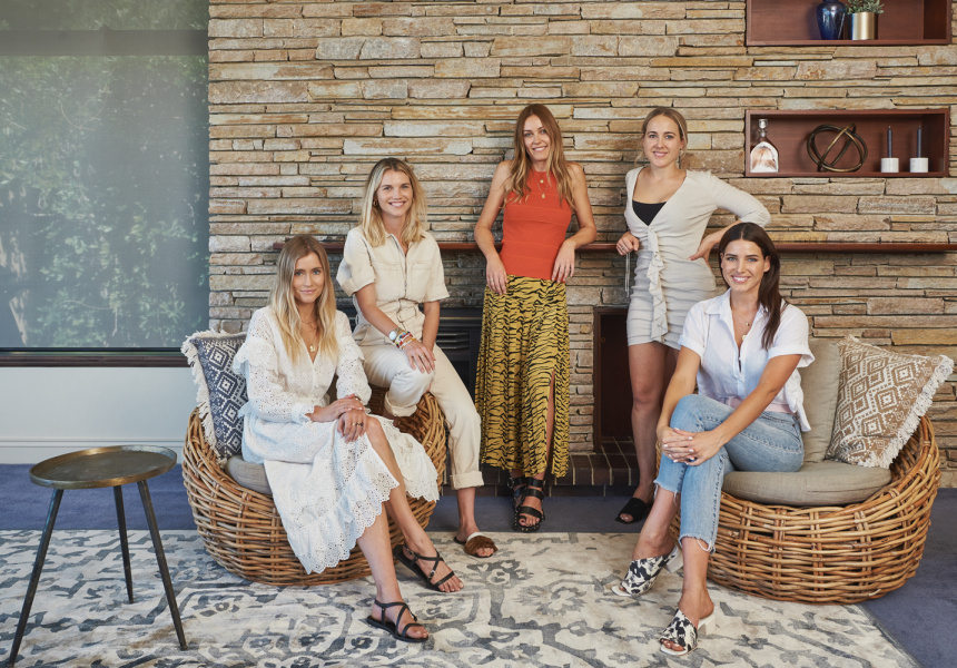 From left to right: Sophie Coote (Sir), Clover Tana (Clover Accessories), Rosie Iffla (Fella Swim) and Tahnee and Kayla Atkinson (Kenni & Kai)