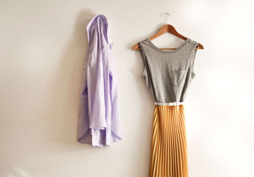 T.R Ensemble Double Pocket Shirt, Blueberry. Karen Walker Tee Dress.