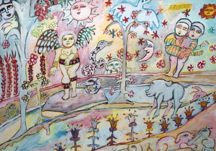 Mirka Mora, Untitled (sketchbook page), 1983. Courtesy William Mora Galleries, Melbourne. © Estate of Mirka Mora