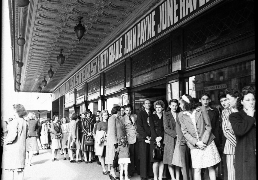 Theatre queue for Regent Theatre (taken for Fox Films)  1946. State Library of NSW hood_21601.