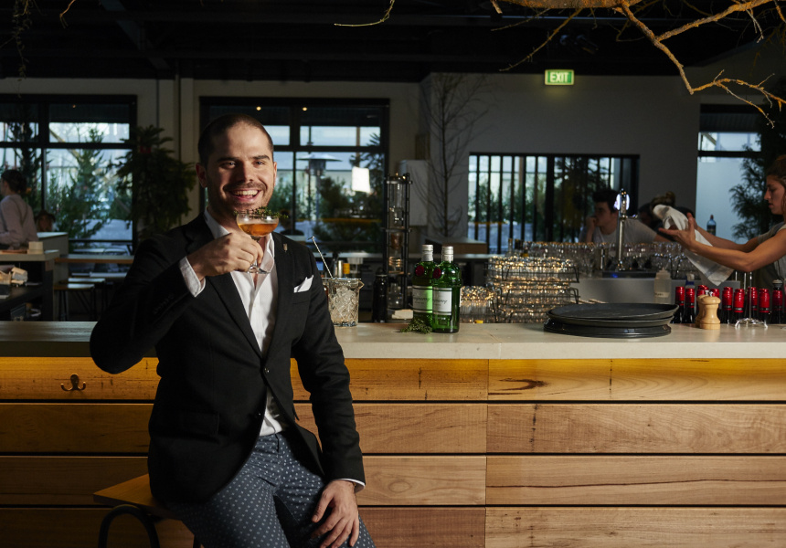 The 2015 World Class Bartender of the Year, Jack Sotti, at the Broadsheet Restaurant.