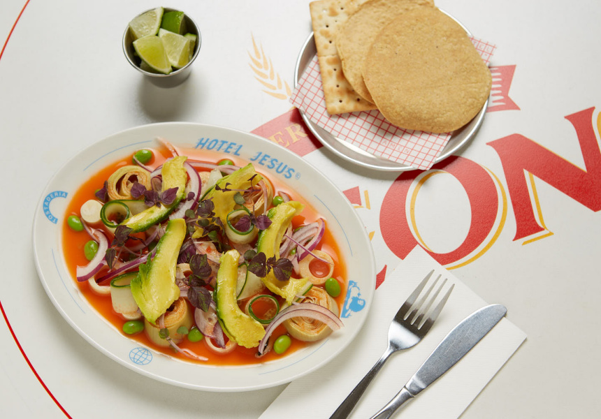 Palm heart and carrot aguachile