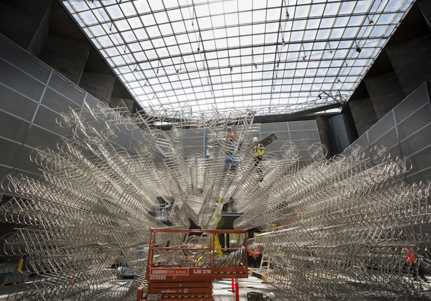 Ai Weiwei's Forever Bicycles being installed at the NGV