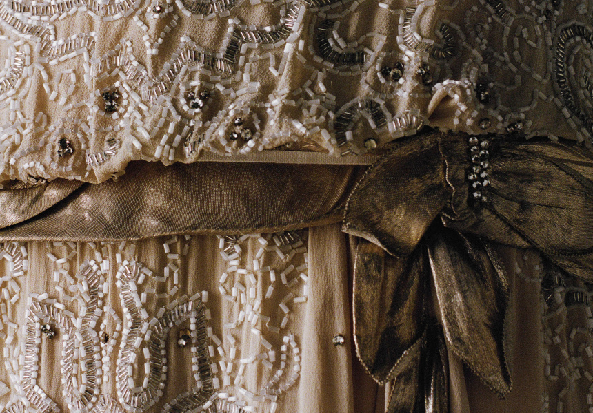 Gabrielle Chanel (designer) Evening dress c. 1923–26 (detail) silk crêpe, tube and rhinestone embroidery, lamé, tulle embroidered with gold thread Patrimoine de CHANEL, Paris