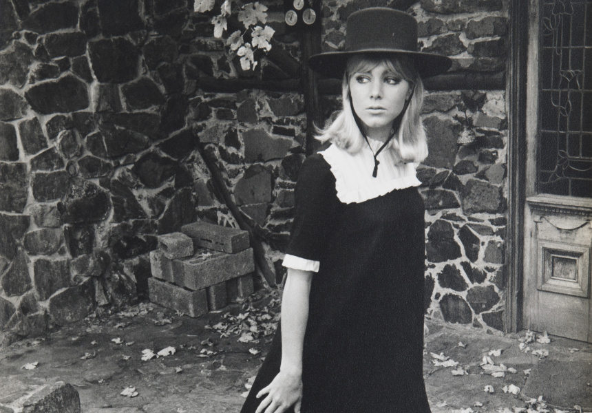 Prue Acton, black and white photograph featuring model wearing Prue Acton black mini dress and hat c 1967, The Prue Acton Collection, Museum of Victoria and RMIT, Donated by Prue Acton 1994.