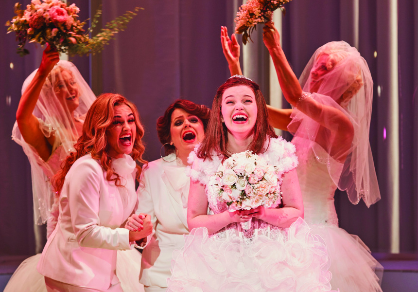 Here Comes the Bride – Hilary Cole, Helen Dallimore and Maggie McKenna in Sydney Theatre Company and Global Creatures Production of Muriel's Wedding the Musical