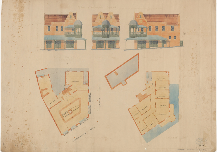 Plans for The Clarence Hotel, 1903