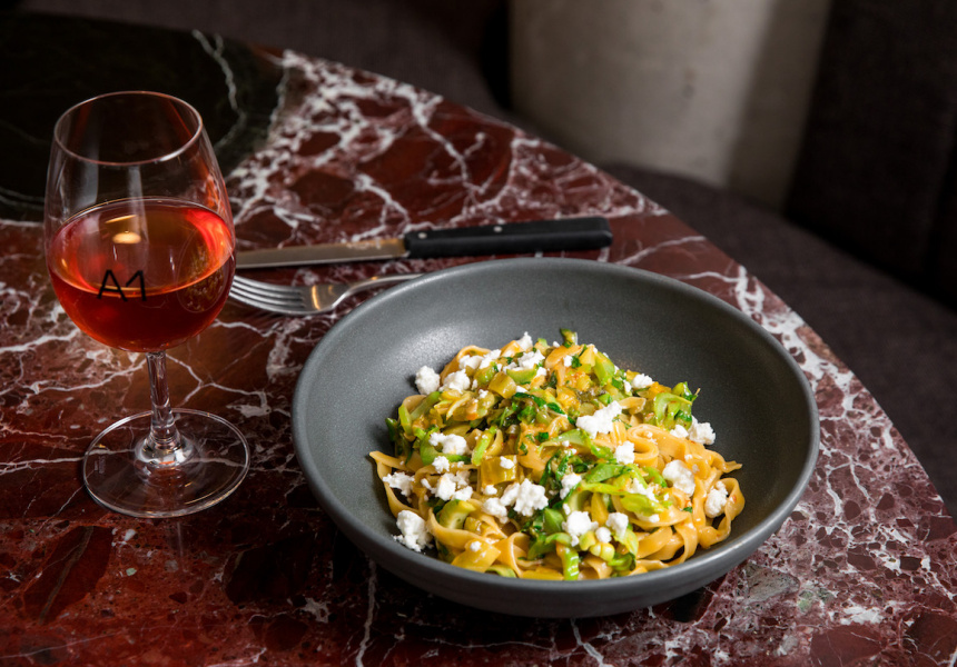 Tagliatelle with pickled mustard greens