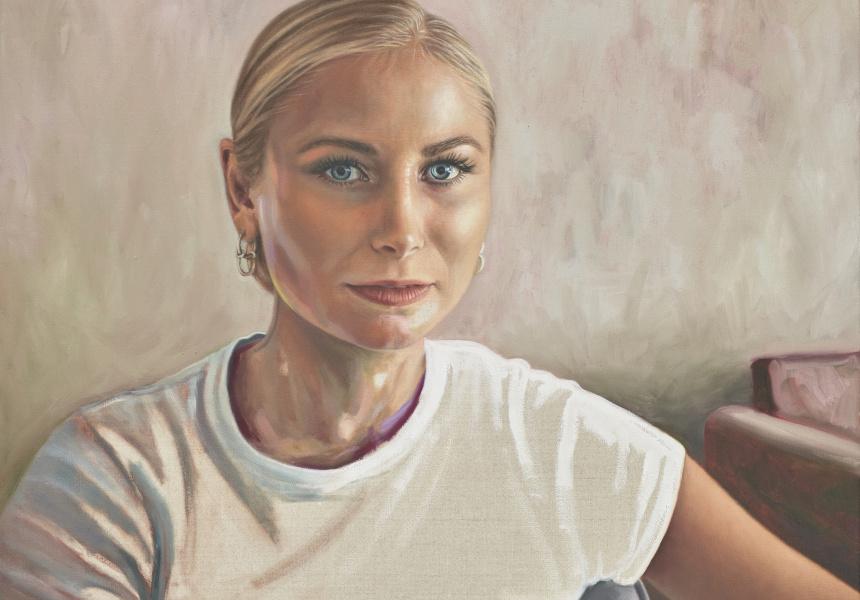 Kirsty Neilson, Making noise, oil on linen, 50.1 x 60.1cm © the artist. Sitter: Grace Tame