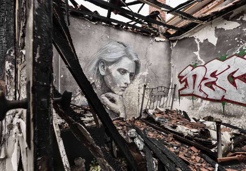 I've seen fire and I've seen rain 2016 from the Empty series archival pigment print Geelong Gallery Purchased with funds generously provided by Geelong Contemporary, 2019 © RONE