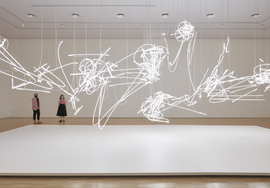Installation view of Cerith Wyn Evans's work C=O=D=A 2019–20 on display in NGV Triennial 2020 from 19 December 2020 – 18 April 2021 at NGV International, Melbourne © Cerith Wyn Evans, courtesy White Cube, London.
