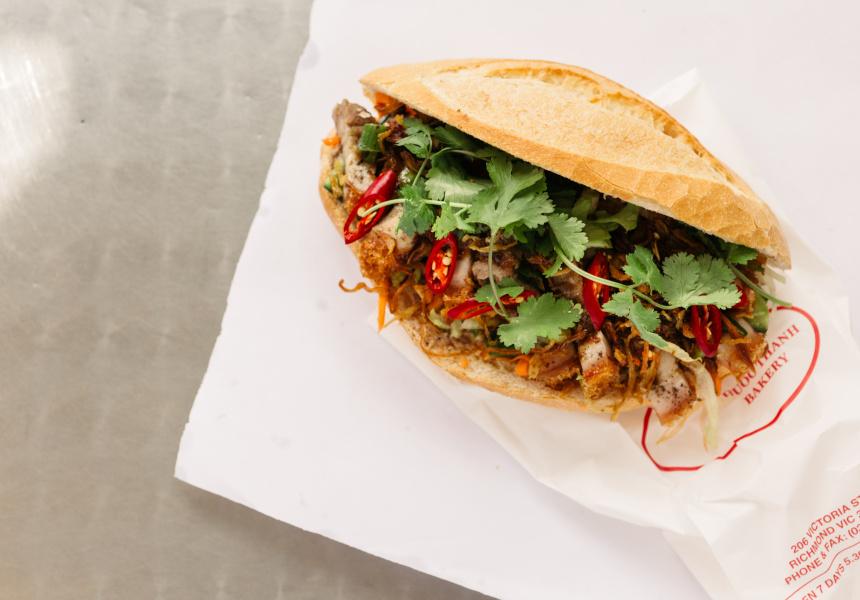 Crispy roast pork bánh mì at Phuoc Thành