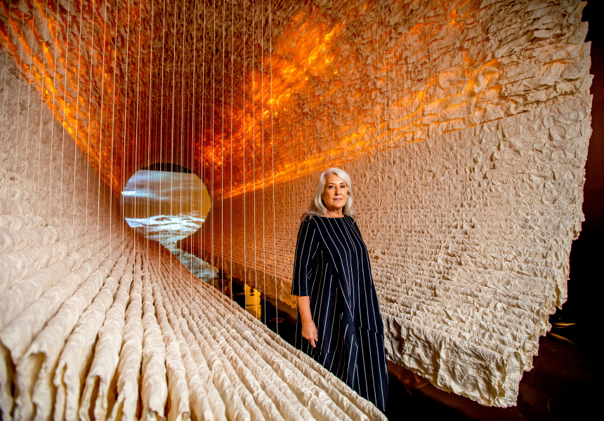 Judith Neilson, Co-founder of White Rabbit Collection inside A Fairy Tale in Red Times: Works from the White Rabbit Collection at the National Gallery of Victoria, Melbourne