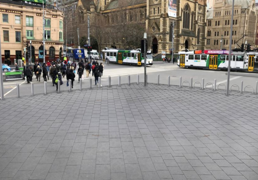 An artist's impression of the forecourt after the bollards have been installed.