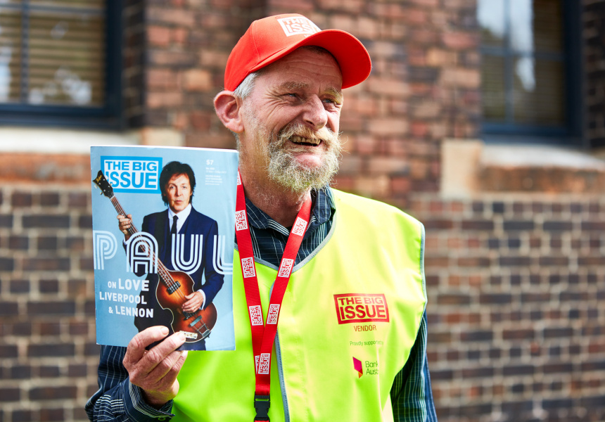 Dave selling The Big Issue