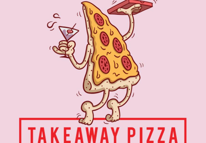 Takeaway Pizza's new branding, by artist SPILLZAY