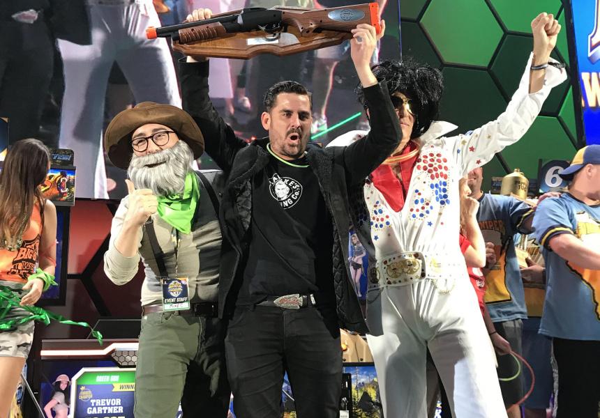 Will Bromley (C), Elvis impersonator (R)