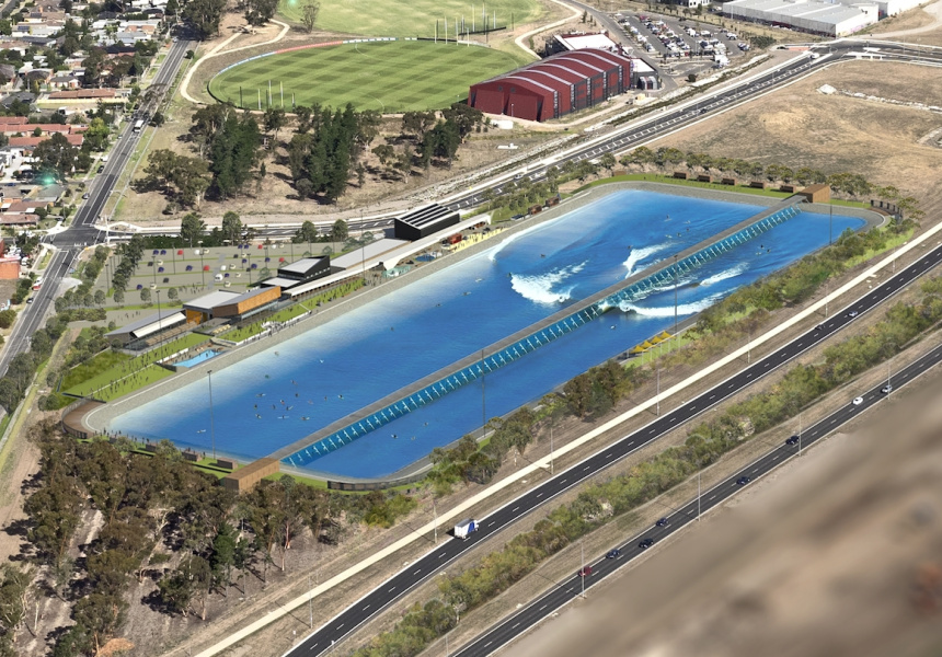 An artist's impression of the Melbourne wave pool.