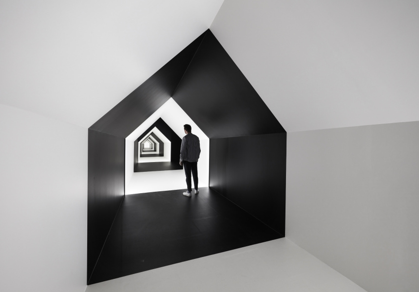 Installation view of Escher x nendo | Between Two Worlds exhibition space space at NGV International running from 2 December 2018 – 7 April 2019