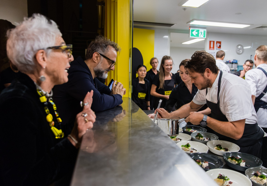 OzHarvest founder Ronni Kahn with Massimo Bottura (Osteria Francescana) and James Viles (Biota),