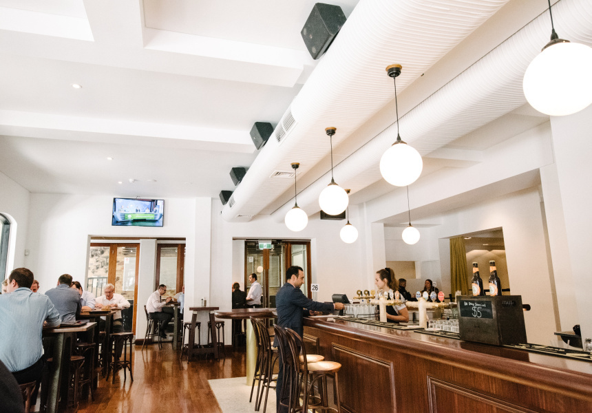 The heritage-listed front bar at The Port Office Hotel