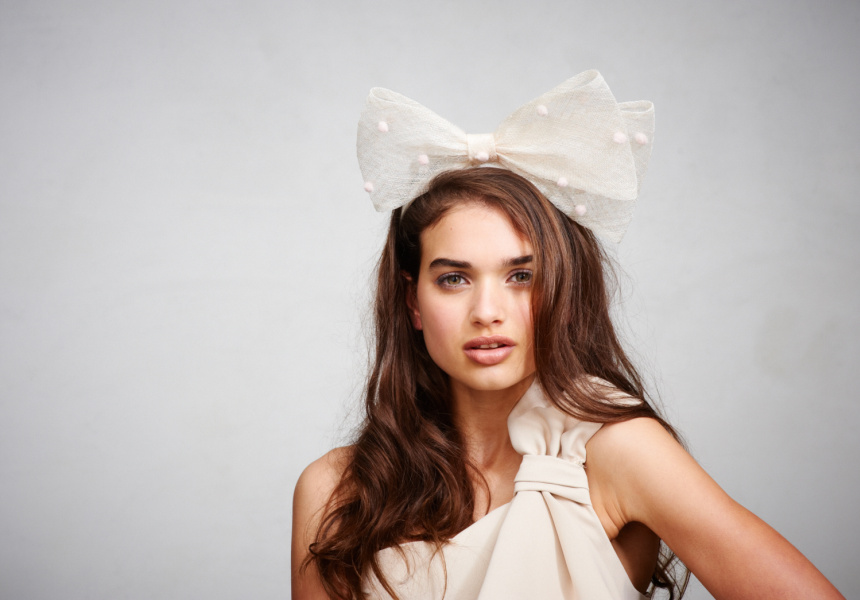 Halston Heritage dress, Alannah Hill Get Your High Horse Fascinator  Photography: Marnie Haddad