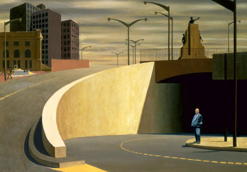 Jeffrey Smart, Cahill Expressway, 1962,  oil on plywood, 81.9 x 111.3 cm