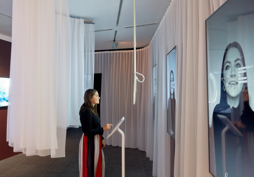 Installation view of Lucy McRae's Biometric mirror, 2018, on display as part of Lucy McRae: Body Architect at The Ian Potter Centre: NGV Australia from 30 August 2019 – 9 February 2020.  © Lucy McRae
