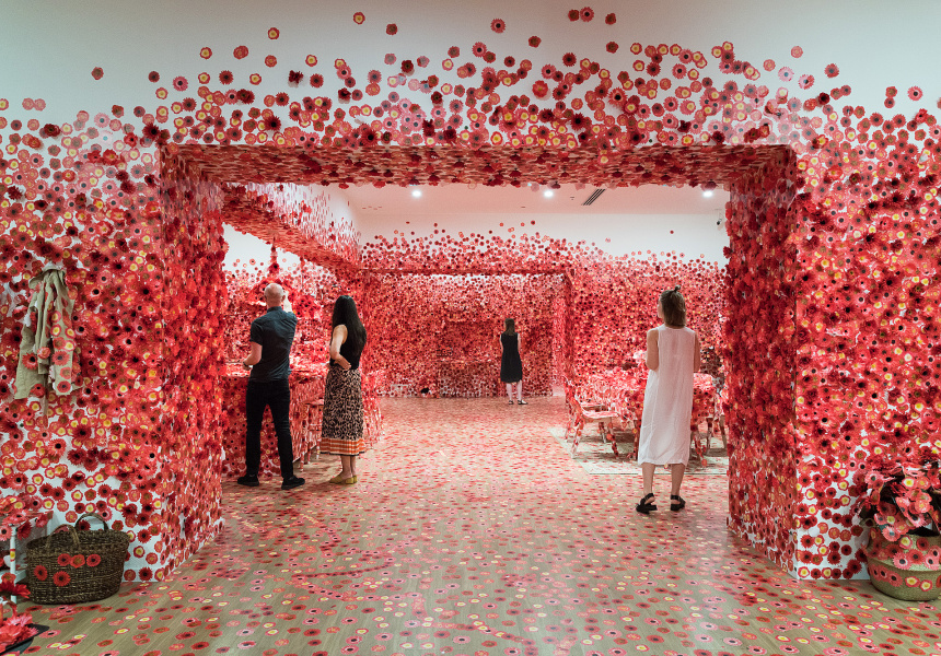 Exhibition image of visitors inside Yayoi Kusama, Flower Obsession, 2017. On display in NGV Triennial at NGV International 2017.