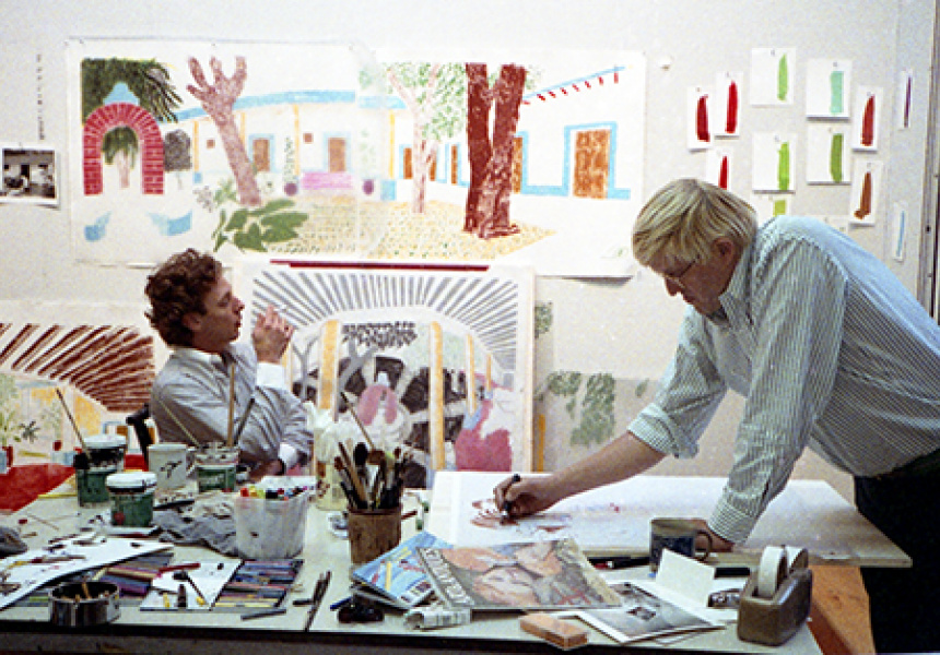 David Hockney works on a preparatory sketch for 'An image of Gregory in the Tyler Graphics studio', October 1984  Digital file from black and white photographic negative