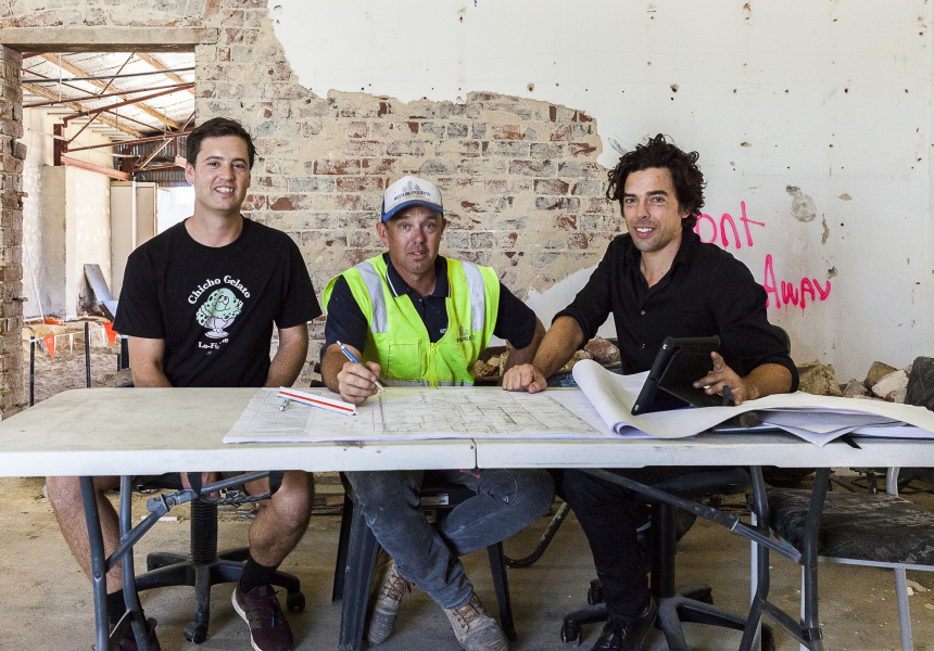 Elliot Moore (Mane Liquor), Ben Pearson (Western Projects) and Benjamin Braham (Braham Architects).