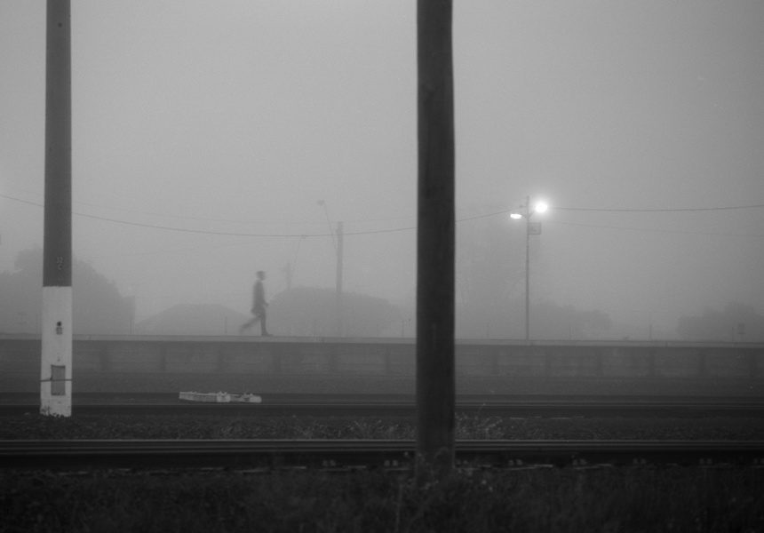 Commuter, North Shore station, Geelong, 2014