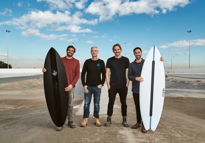 Urbnsurf founder Andrew Ross (second from left) and Three Blue Ducks co-owners Mark LaBrooy, Darren Robertson, and Andy Allen