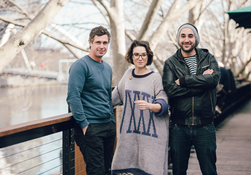 "Left to right: Arbory's executive chef  Nick Bennett, Alice ""In Frames"" Zaslavsky and Arbory's wine director Raul Moreno Yague."