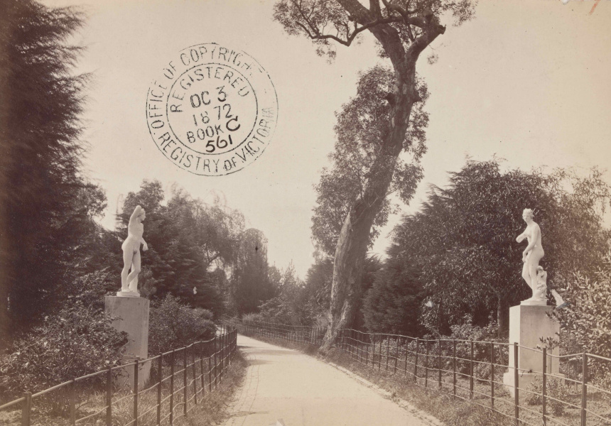 Statue in Fitzroy Gardens, Pictures Collection, State Library Victoria