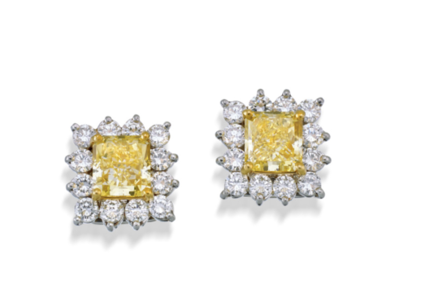 PAIR OF PLATINUM, 18CT GOLD, FANCY YELLOW DIAMOND AND DIAMOND EARRINGS, CARTIER, SOTHEBY'S IMPORTANT JEWELS & WATCHES